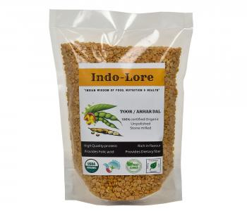 Indo-Lore Certified Organic Unpolished Desi Toor Dal, 1 Kg