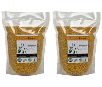 Indo-Lore Organic Certified Unpolished Yellow Moong Dal (2*500 gm = 1 Kg)