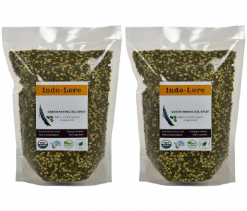 Indo-Lore Certified Organic Unpolished Green Moong Dal Split (Pack of 2 * 500 gm = 1 Kg)